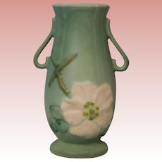 """6.75"""" Wild Rose Pattern Weller Pottery Vase Excellent Condition"""