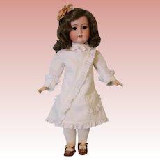 Antique 21 inch C M Bergman German Bisque Doll White-work Dress Adorable