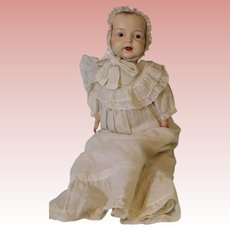 "19"" American early composition Baby doll C.1915 Jointed cloth body Nice clothes"