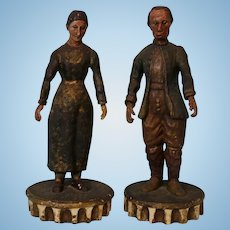 10 inch Antique French man and woman Carved Wood figures Glass eyes DeArmond