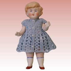 """5-1/2"""" Antique All Bisque doll 9770 Germany Molded blonde hair Crocheted dress"""