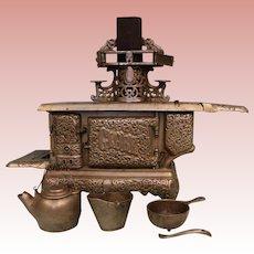 Large Salesman's sample wood burning KENTON Stove Globe Cast Iron stove NICKEL