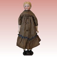 "Antique 16"" Blond China Head German doll by Hertwig Antique dress Old body"