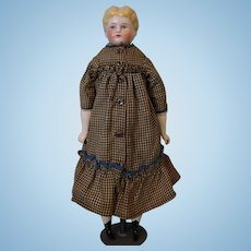 """Antique 16"""" Blond China Head German doll by Hertwig Antique dress Old body"""