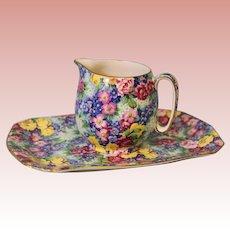 "1950 Royal Winton Grimwades ""Julia"" pattern Chintz Cream and Matching Tray"
