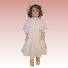 """28"""" Antique 154 Kestner doll Brown sleep eyes Orig wig and pate Antique clothing"""