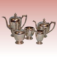 5 pc Reed & Barton Pointed Antique Sterling set Coffee Tea Cream Sugar Wastebowl