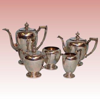 5 pc Reed & Barton Pointed Antique Sterling set Coffee Tea Cream Sugar Wastebowl