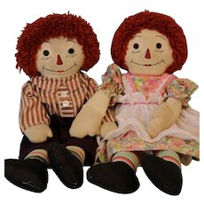 21 Inch Vintage Raggedy Ann and Andy Cloth Doll Set 1940s Homemade