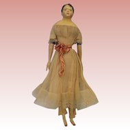 "14"" Antique Papier Mache Milliners Model Doll Wood Arms & Legs 1860 Orig Clothes"