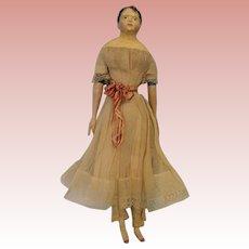 """14"""" Antique Papier Mache Milliners Model Doll Wood Arms & Legs 1860 Orig Clothes"""