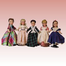 14 Inch Madame Alexander Set 5 Little Women dolls 1950s hard plastic Tagged!