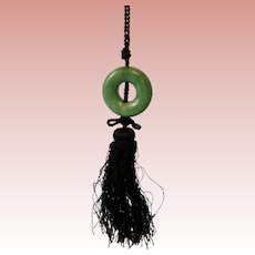 Vintage Round Chinese Jade 1-3/4 inch Circle Pendant on silk cord with tassel