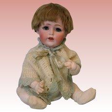 "16"" Antique Kestner JDK 257 baby doll Blue glass eyes Brown mohair wig Orig body"