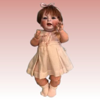Antique 16 Inch Hertel & Schwab 152 Antique Character Baby Doll open mouth teeth