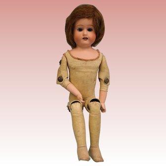 "Antique 13"" Morimura Brothers Bisque Doll Leatherette Excellent Condition"