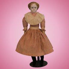 "Antique 14"" Paper Mache shoulder head w.a repainted striped head,red dress Clean"