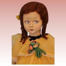 "Rare 33"" Lenci Boudoir Doll 1929 Gish Face Original Clothes Shoes and Wig"