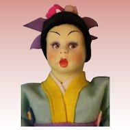 9 inch Lenci Mascotte Japanese Girl Doll Swivel head, original Clothes, Clean