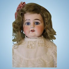 """23"""" Antique German Bisque Doll Turned Head """"Mystery"""" Orig mohair wig Kid body"""