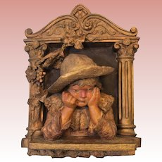 """13"""" W 19"""" T Antique Plaster Wall hanging Fretting/Worried Girl child Circa 1910"""