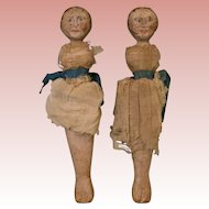 """Two antique 9"""" Hand Painted wooden dolls with Painted faces and hair"""