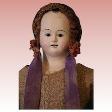 "Circa 1860 21"" Antique Voite Papier Mache Doll Glass Eyes Kid Leather Body,"