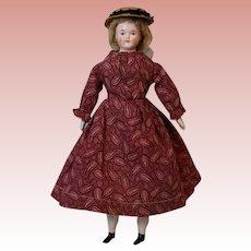 "12"" Antique German Biedermeier China Head doll Wig over Black paint Spot ca 1860"