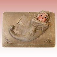"Italian Antique 14"" Silk Musical Jewelry Box Bisque Doll out of Cornucopia 1880"