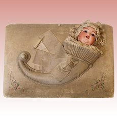 "Italian Antique 14"" Silk Musical Jewelry Box Bisque Doll out of Cornucopia 1880"