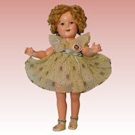 "18 Inch Vintage Ideal Compo Shirley Temple in Original ""Curly Top"" Dress Button"