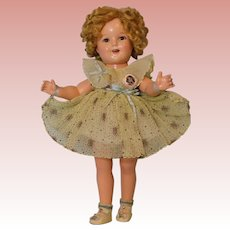 """18 Inch Vintage Ideal Compo Shirley Temple in Original """"Curly Top"""" Dress Button"""