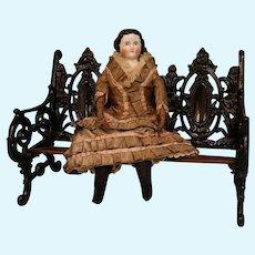 """Antique 15-1/2"""" Kestner China doll Orig body leather arms Fragile Silk dress"""