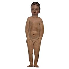 """10"""" Antique carved Wood Nude young Male figure Painted carved hair Creche c 1870"""