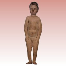 "10"" Antique carved Wood Nude young Male figure Painted carved hair Creche c 1870"