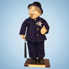 17 Inch Policeman Doll Stockinette, Modern Art Doll clean from a non-smoking