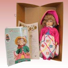 17 Inch 1998 Lenci Felt Italian Doll Diana Mint in Box Certificate and Pin