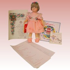 "Vintage 1983 Lenci Felt Doll Loretta In Pink With Tag 13"" with Certificates"