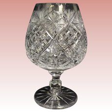 "11"" tall Large cut glass brandy snifter 4-1/2"" Diameter Circa 1910 Very Charming"