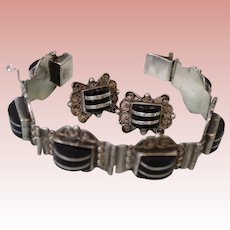 7 inch Sterling Silver bracelet and matching earrings Black stone & Mexican made
