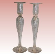 """Antique Pair of Vintage 12"""" Gravic Cut Glass candlesticks with Floral Foliage"""
