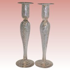 "Antique Pair of Vintage 12"" Gravic Cut Glass candlesticks with Floral Foliage"