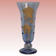 """Vintage Tiffiin 12.5"""" Tall Blue Glass Trumpet Vase Gold Floral Enamel 1940-1950"""