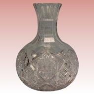 "Antique 8-1/2"" American Brilliant cut glass carafe 19-1/2"" Circumference No Chip"