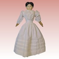 "18"" Antique Paper Papier Mache Sonneberg Germany 1870s doll Antique cloth body"
