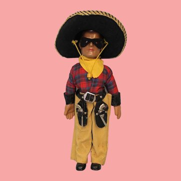 """15"""" American Composition Doll by Dollcraft """"The Lone Ranger"""" All Original! c1937"""