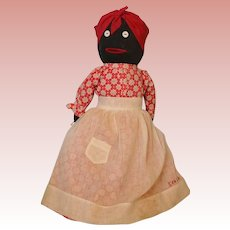"Vintage 15"" Black Cloth Doll Savannah Georgia Sewn on Apron"