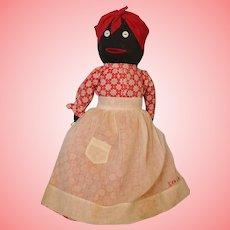 "Vintage 15"" Black Cloth Doll Savannah Georgia Sewn on Apron"
