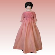 19 Inch Antique China Head Doll Antique Body Pink Painted Ribbon legs c1885