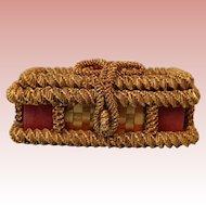 Wonderful Early Wicker Woven Straw Basket Perfect For Antique Doll Trousseau